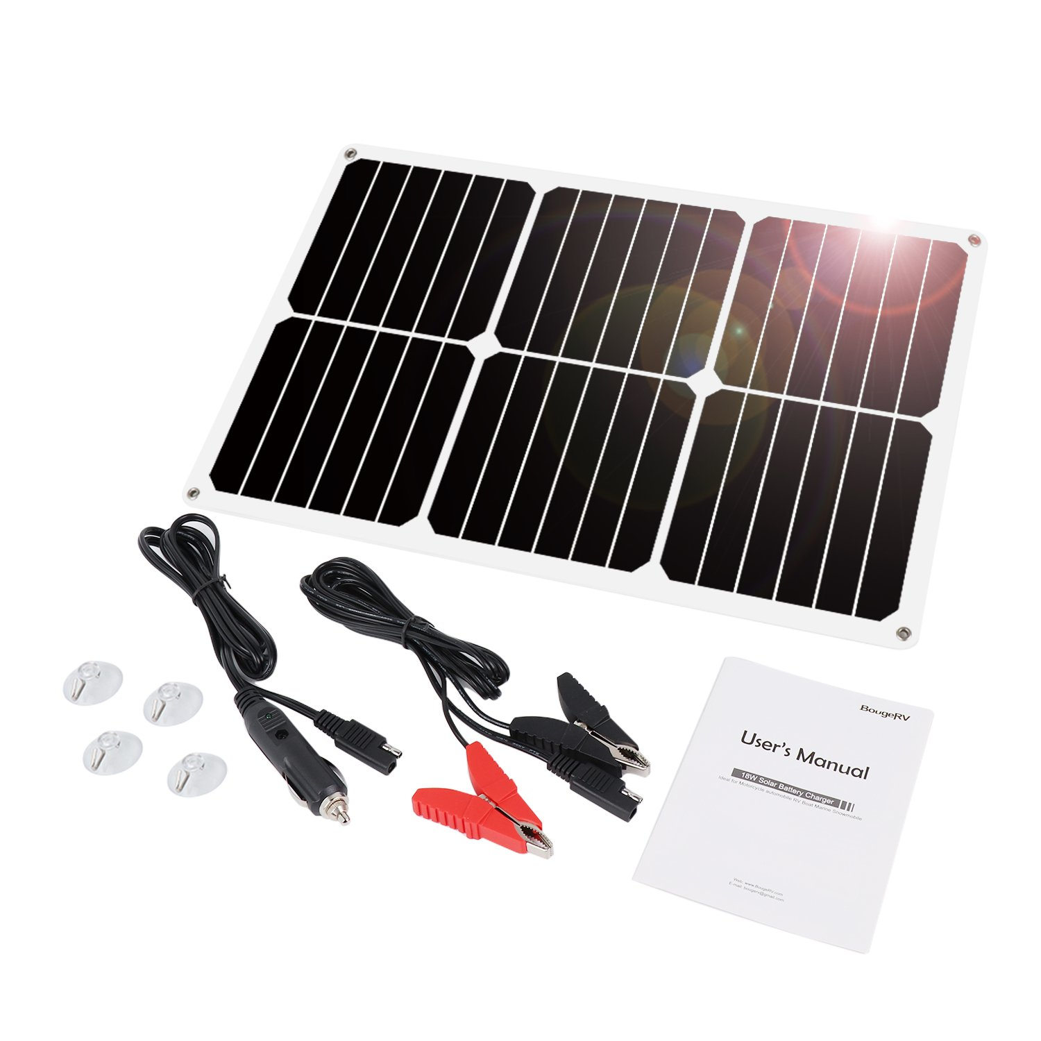 BougeRV 18W 18V 12V Solar Car Battery Charger SUNPOWER Portable Solar Panel Trickle Charger Maintainer with Cigarette Lighter Plug, Battery Charging Clip Line for Automobile Motorcycle RV Boat Tractor