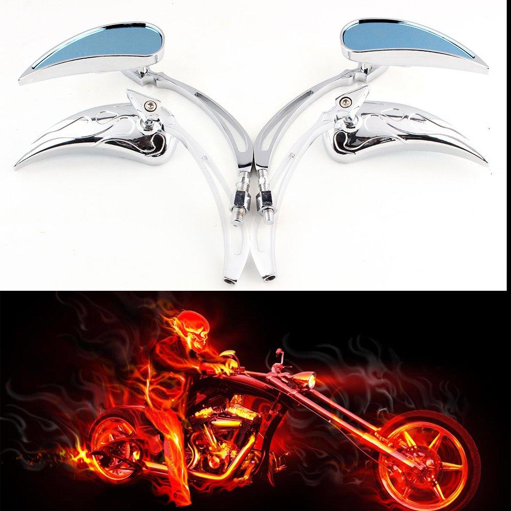 evomosa 8mm//10mm Motorcycle Chrome Teardrop Rear view Side Mirrors for Custom Cruiser Chopper Harley Honda Sportster Dyna Softail