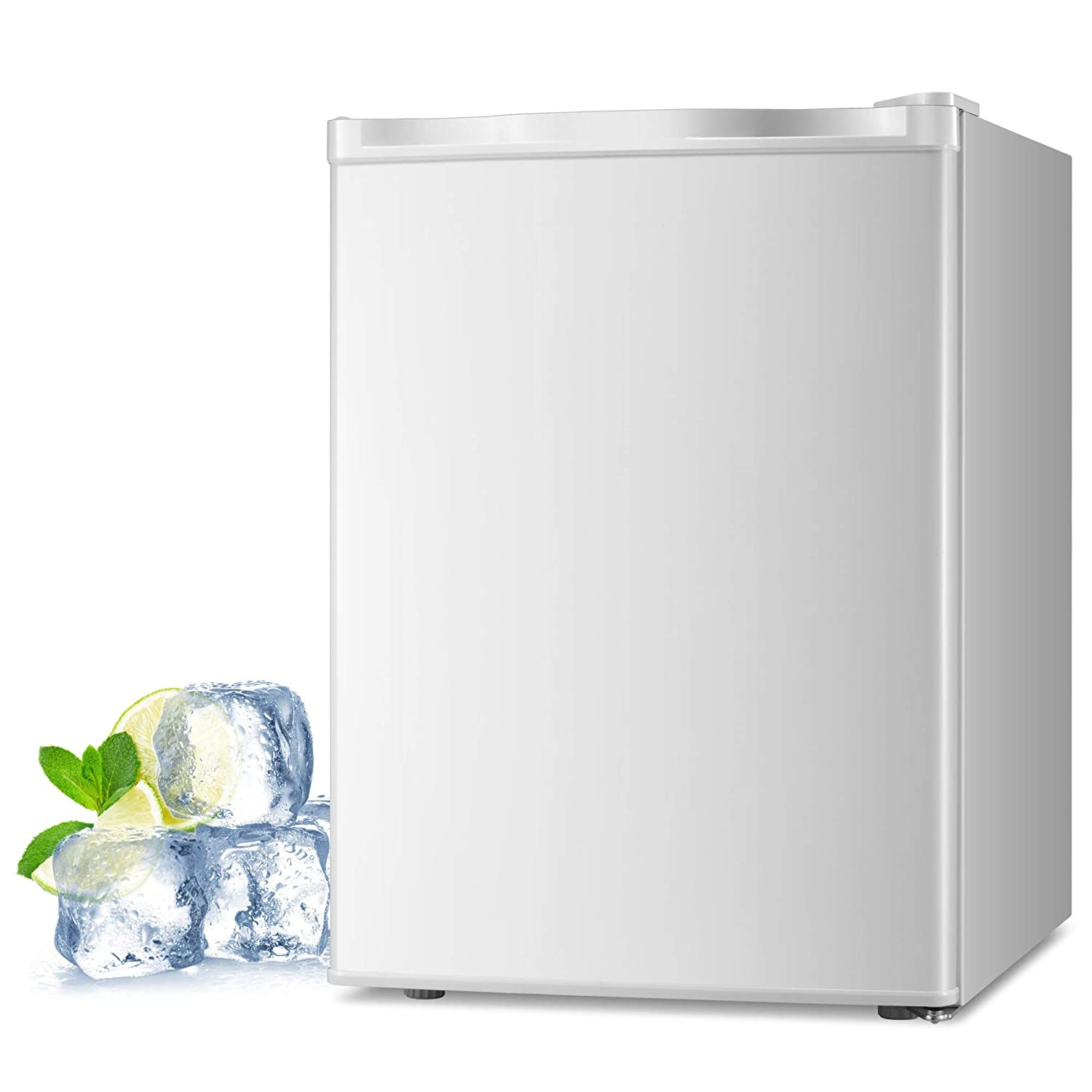 1.1 cu.ft Adjustable Thermostat Joy Pebble Free Standing Upright Freezer with Removable Shelf Compact Reversible Single Door Vertical Freezers for Home//Hotel//Apartment//Office
