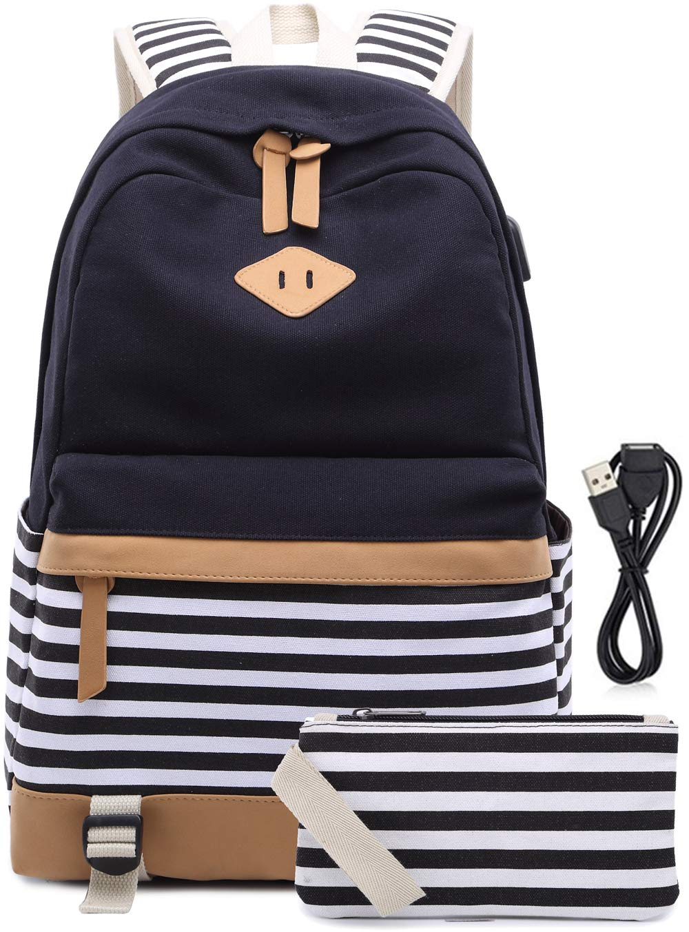 6a8f96bb5f9 Canvas Backpack Girls Stripe School Bookbag Women College Backpack With USB  Port Black