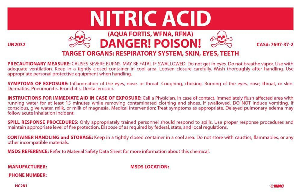 National Marker Corp. HC281P Container Labels, Nitric Acid, 6 1/2 Inch X 10 Inch, PS Vinyl: Amazon.com: Industrial & Scientific