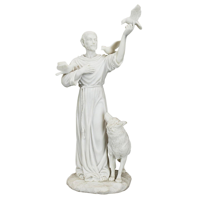 Design Toscano HL. Franziskus und die Freunde des Waldes Figur aus Marmor-Kunstharz-Verbindung Skulpturen, weiß, 10 x 12.5 x 25.5 cm