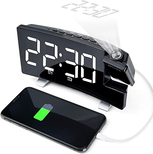 Secura Projection Alarm Clock, Radio Alarm Clock with Memory Function Up to 15 FM , Dual Alarm with 4 Alarm Sounds, 5 Curved LED Screen Display, 3 Dimmer, 12 24 Hour, USB Phone Charger