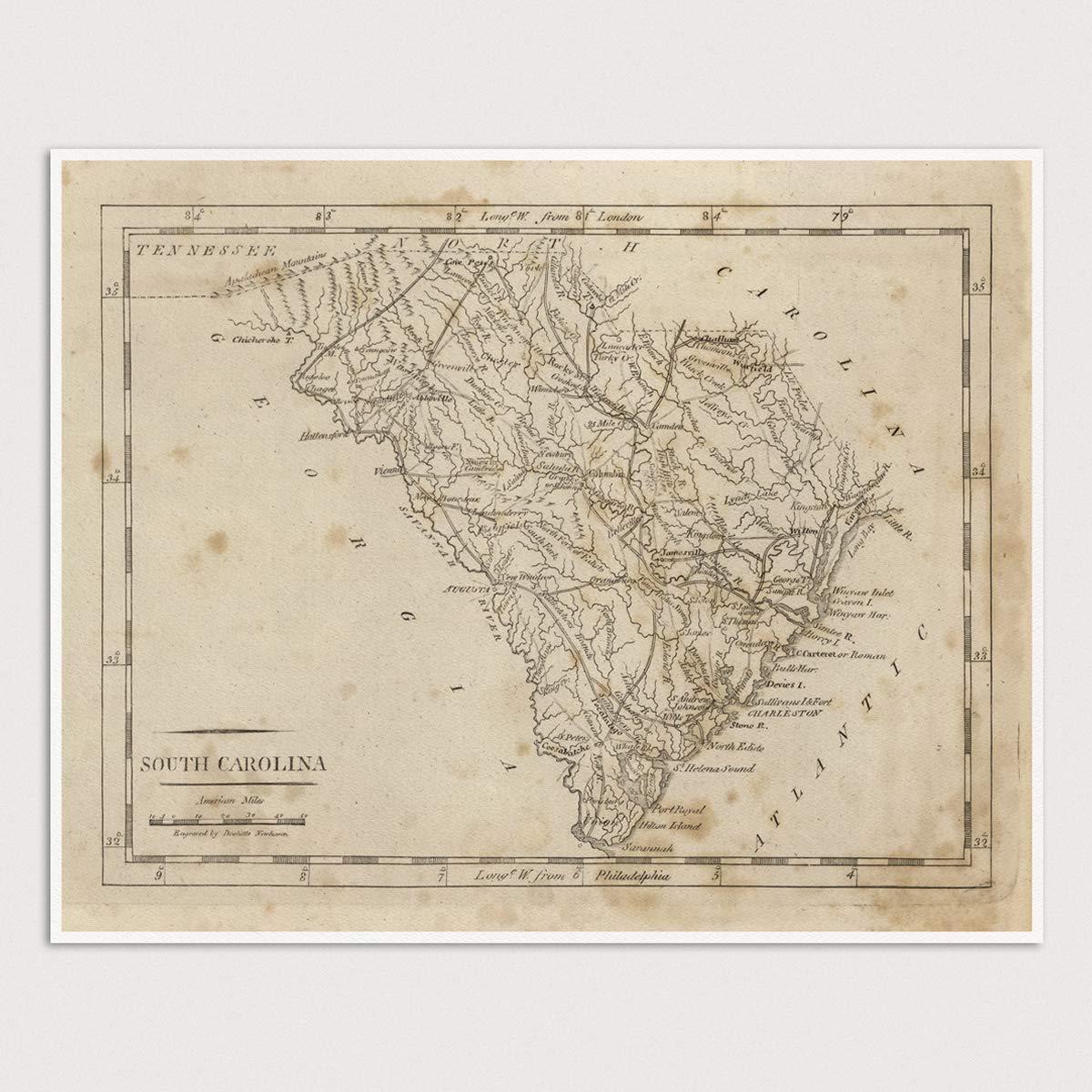image regarding Printable Maps of South Carolina titled : Outdated South Carolina Map Artwork Print, 1816, Archival