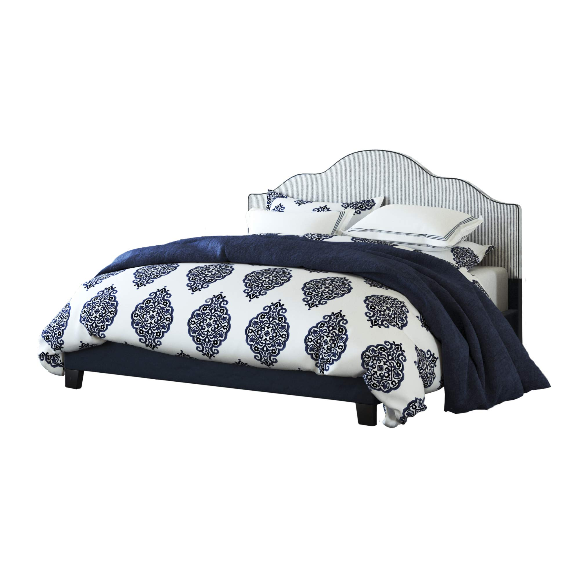Embassy King Upholstered Bed in Midnight Blue with Arch Curved, Padded Headboard, And Platform Style Base, by Artum Hill