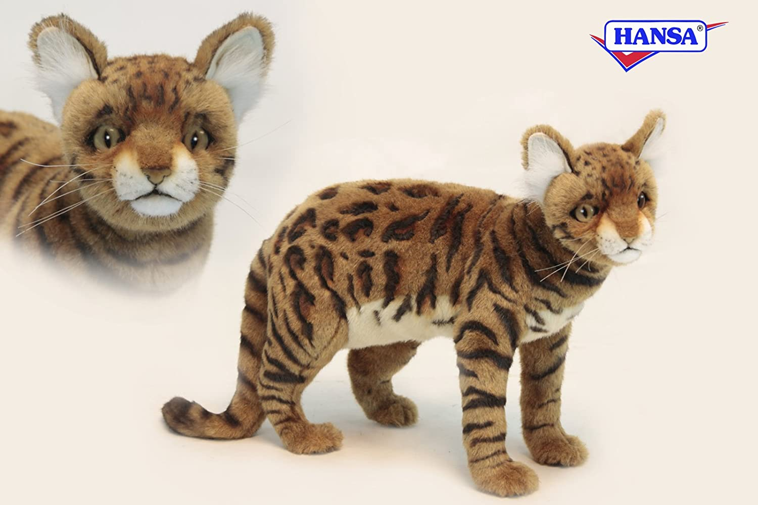 Standing Bengal Cat Plush Soft Toy by Hansa. 45cm. 6354: Amazon.co ...