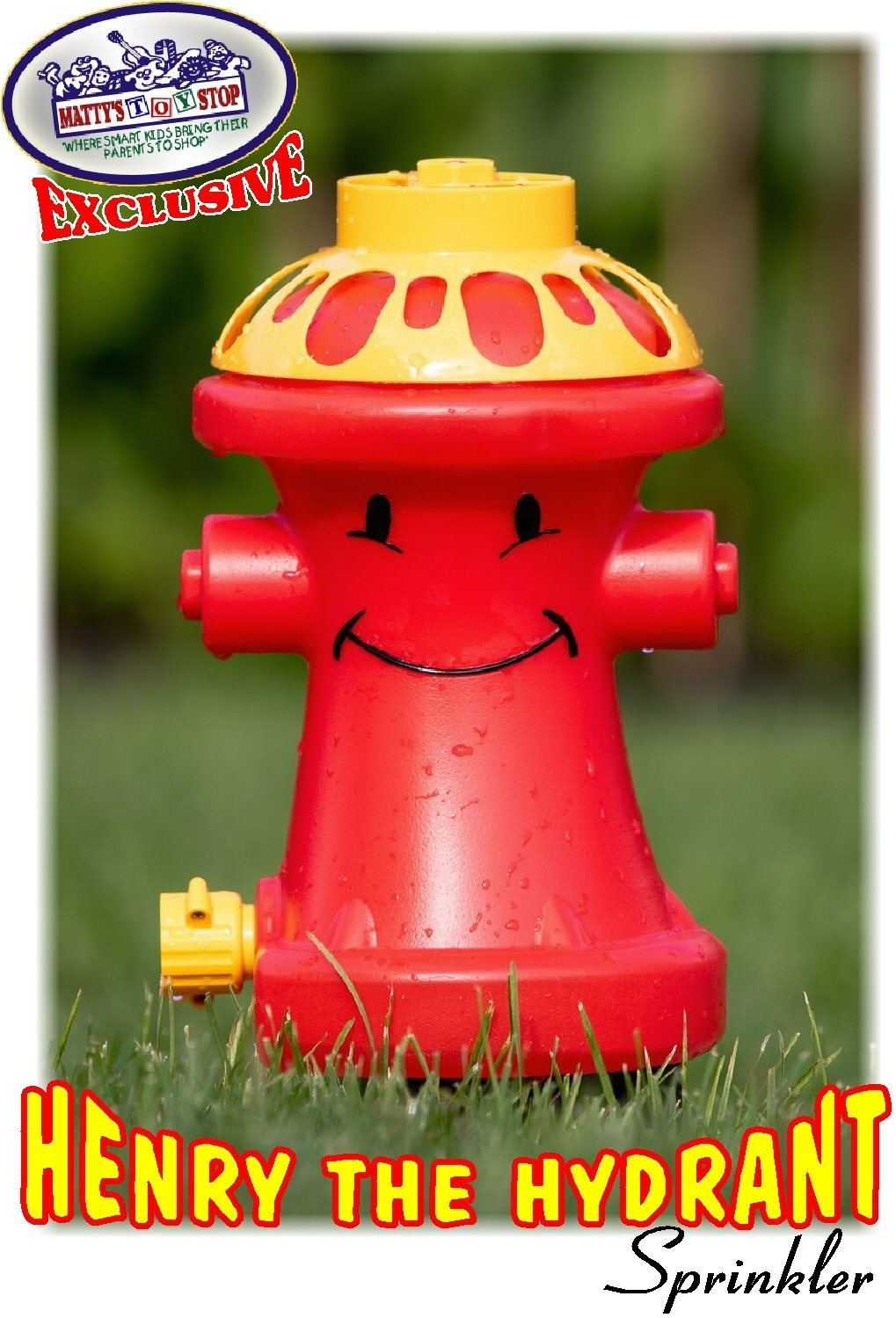Matty's Toy Stop Henry The Hydrant Water Sprinkler for Kids, Attaches to Standard Garden Hose & Sprays Up to 10 Feet High & 16 Feet Wide, Measures 10.75'' High by Matty's Toy Stop