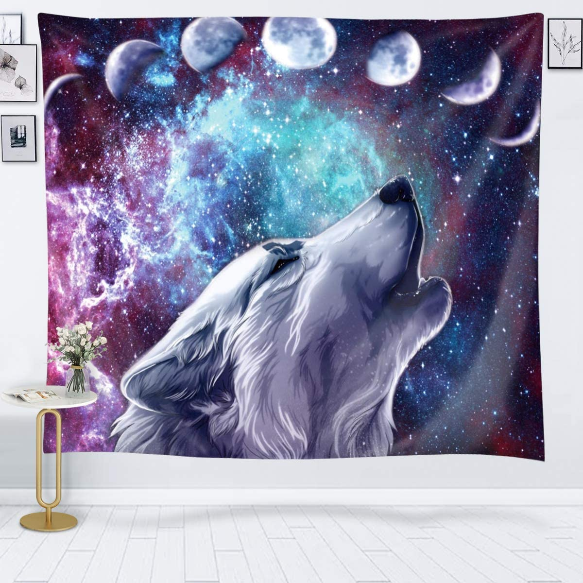 Amazon Com Joysog Wolf Tapestry Space Moon Tapestry Wall Hanging Wolves In Starry Night Sky Tapestries Galaxy Stardust Wall Tapestry For Bedroom Living Room Dorm 80 X 60 Everything Else