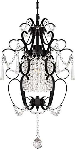 1-Light Mini Crystal Farmhouse Chandelier Rustic Iron Ceiling Light Fixture