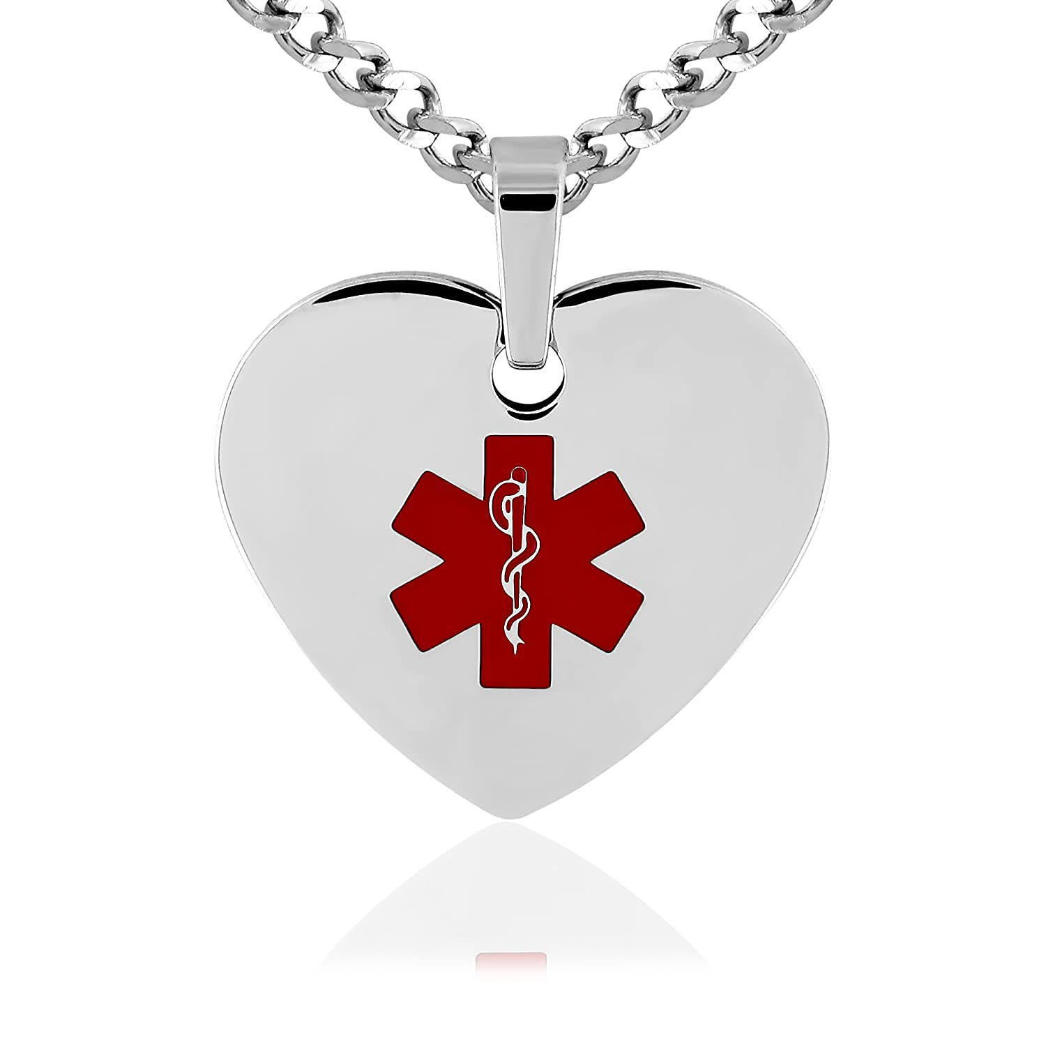 MedicEngraved Medical ID Red Enamel Heart Neckalce Made with Surgical 316L Stainless Steel MHPM-MED-R-W