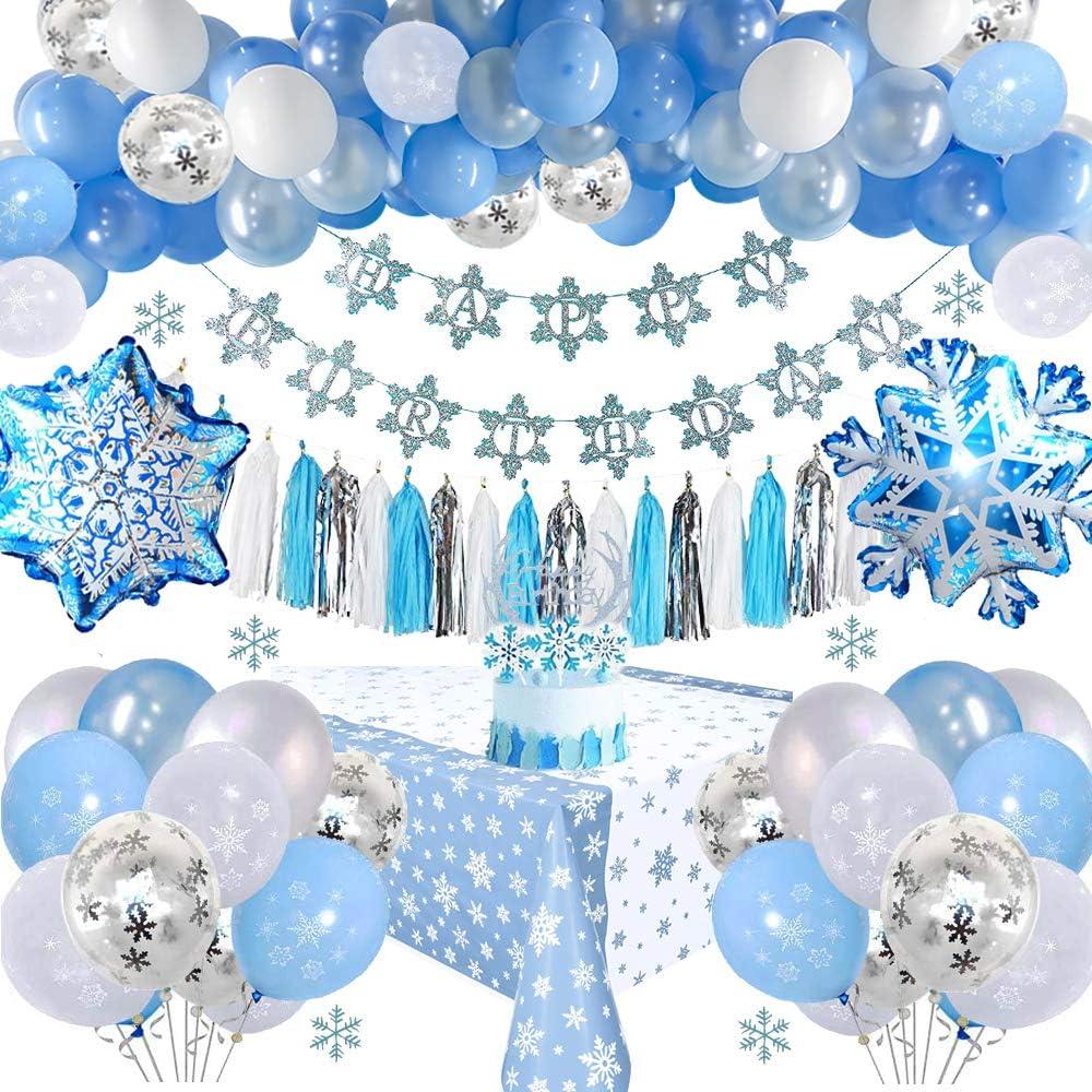 Decoraciones Cumpleaños Frozen con Pancarta Cumpleaños, Adornos Tartas, Borlas, Mantel, Globos Látex Azul & Blanco & Confeti para Niñas Mujeres, Cumpleaños, Baby Shower, Fiesta, Telón Fondo