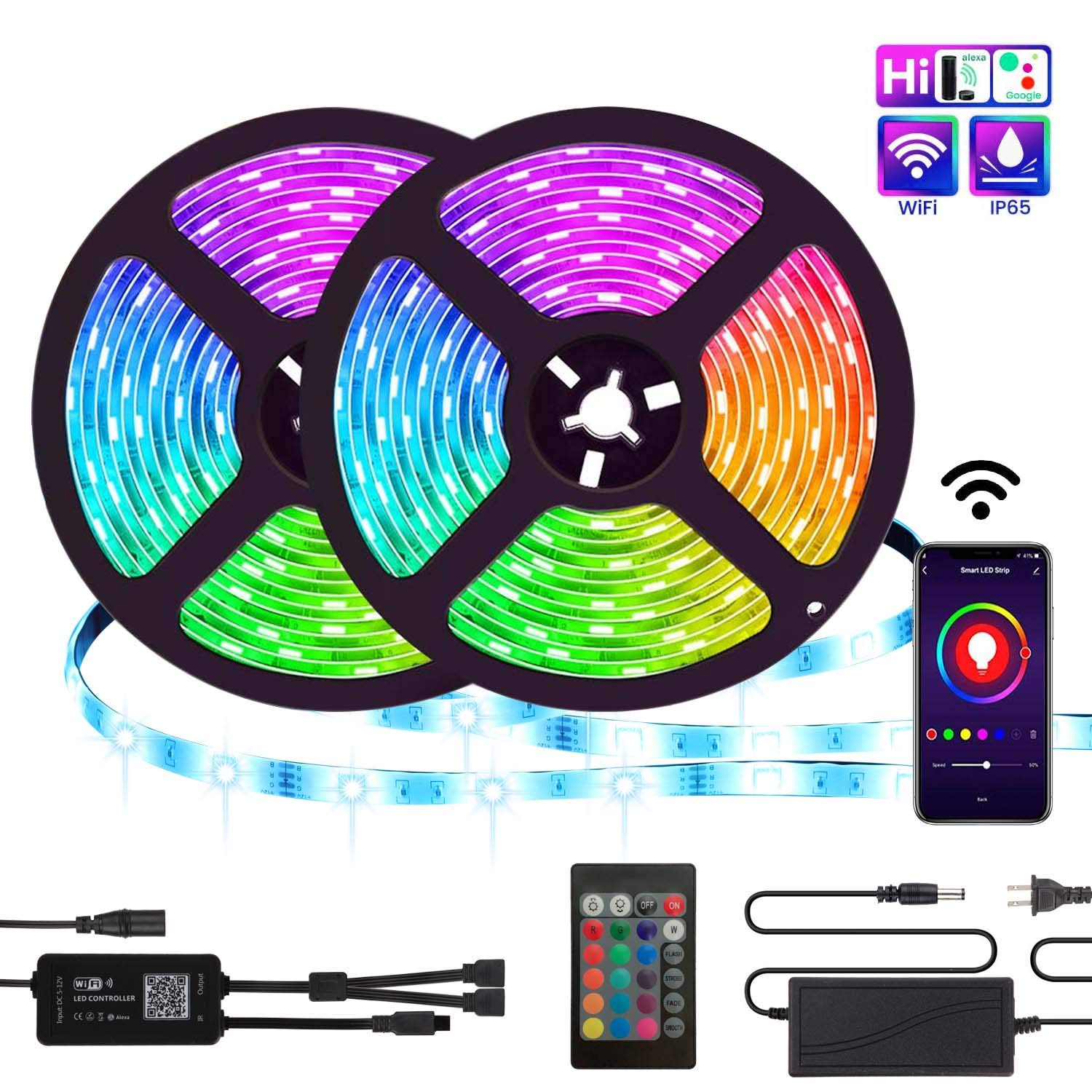 LED Strip Lights, TATUFY WiFi 32.8ft/10M 300LEDs Color Changing Rope Lights 5050 RGB Light Strips with Alexa Google APP Controller, Waterproof Tape Lights Sync with Music Apply for Home Kitchen by TATUFY