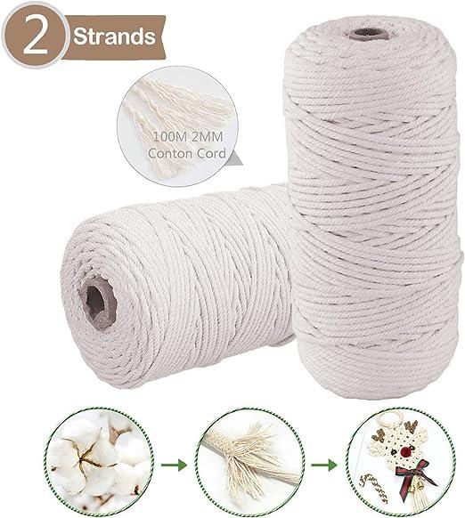 Cuerda de Algodón Natural, 200m x 2mm Hecha a Mano Craft Cuerda ...