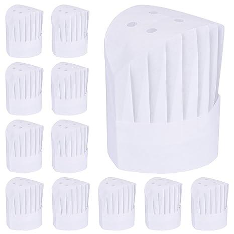 Willbond 12 Pezzi Monouso 9 Pollici Cappelli da Cuoco Alto Set Regolabile Cucina  Cappelli da Chef b6a4aff6bf3b