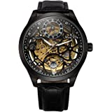 Skeleton Automatic Mechanical Steampunk Watches - ManChDa Men's Big Case 47MM XL Crystal Wrist Watch + Gift Box