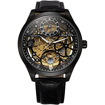 Review Skeleton Automatic Mechanical Steampunk Watches - ManChDa Men's Big Case 47MM XL Crystal Wrist Watch + Gift Box