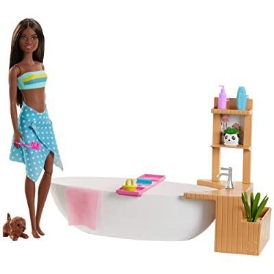 ​Barbie Fizzy Bath Doll and Playset, Brunette, with Tub, Fizzy Powder, Puppy and More, Gift for Kids 3 to 7 Years Old: Toys & Games