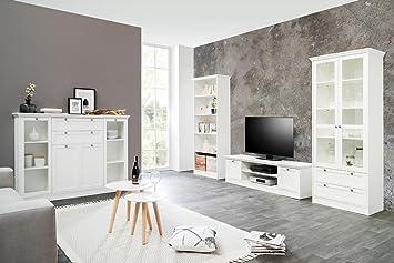 Landhausmöbel Wohnzimmer Wohnzimmer Landström 151 Weiß 4 Teilig Lowboard  Vitrine Highboard .