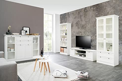 wohnzimmer landström 151 weiß 4-teilig lowboard vitrine highboard ... - Landhausmobel Weis Wohnzimmer