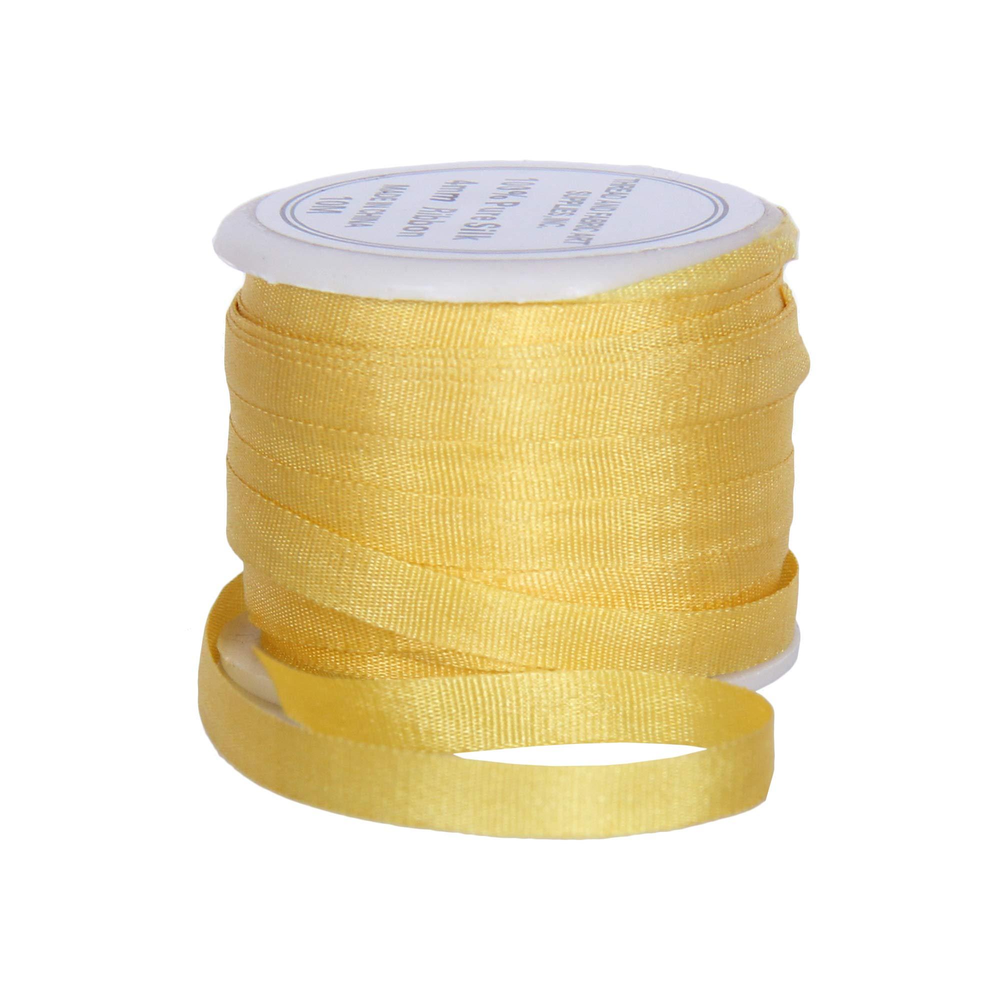 666-3 Sizes 4mm Sun Gold No 50 Colors Threadart 100/% Pure Silk Ribbon