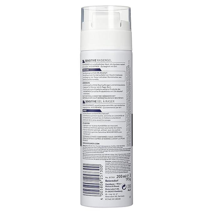 Nivea Men Sensitive Shaving Gel 200 ml: Amazon.es: Salud y cuidado personal