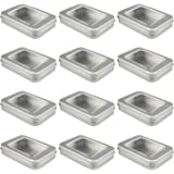 Empty Rectangular Silver Metal Storage Organizer Tins with Clear Window Hinged Lids for Candies, Gifts & Treasures (12…