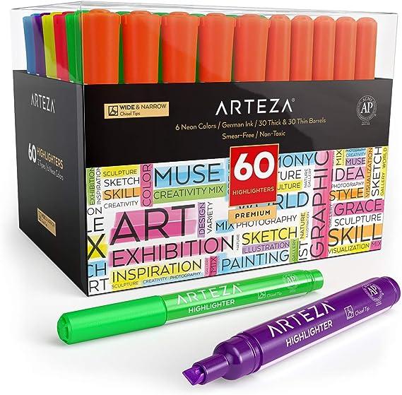 Arteza Subrayadores de colores | Pack de 60 | Marcadores fluorescentes de punta ancha y estrecha | Colores surtidos | Rotuladores fluorescentes para niños y adultos: Amazon.es: Oficina y papelería