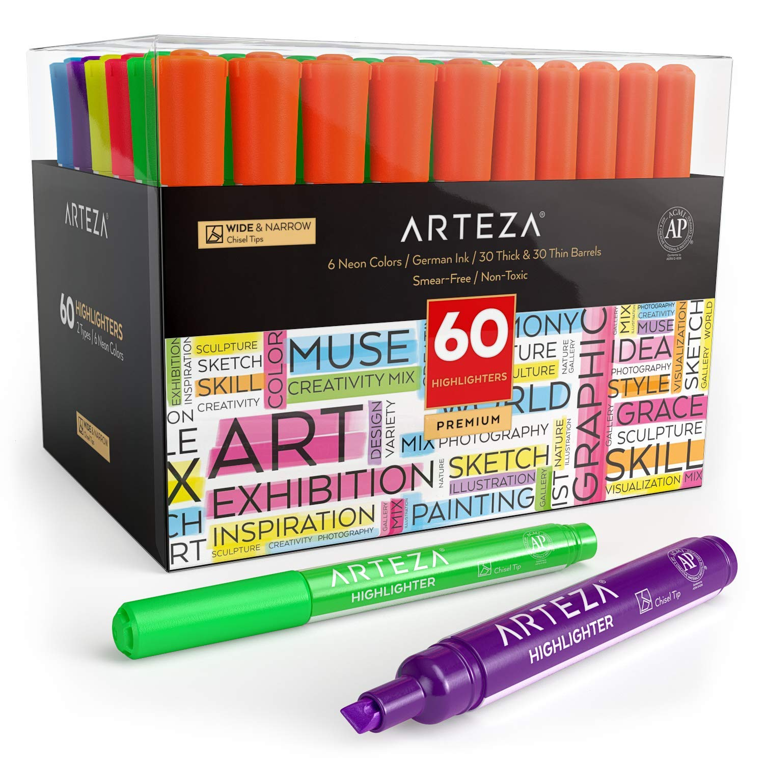 Arteza Highlighters Set of 60, Bulk Pack of Colored Markers, Wide and Narrow Chisel Tips, 6 Assorted Neon Colors, for Adults & Kids …