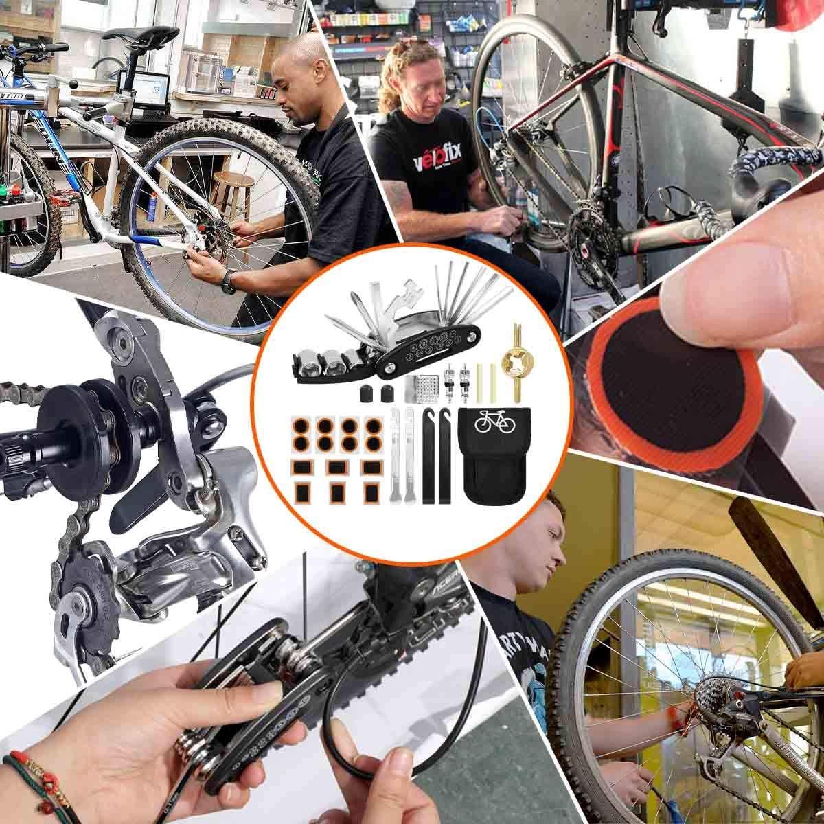 DMLNN Bike Tool Kit Bike Multi Tool Mountain Bike Accessories 16 in 1 Bike Multifunction Tool with Patch Kit /& Tire Levers Puncture Repair Kit