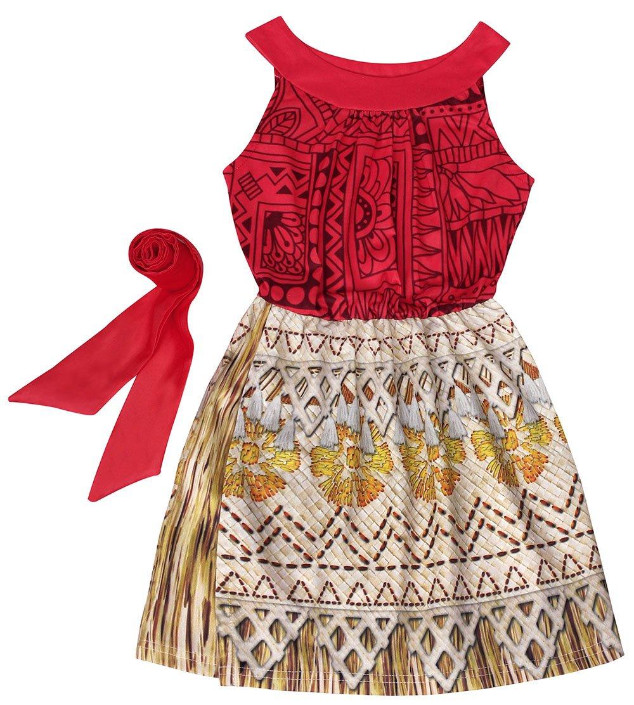 bf8beecb30f84 Cotrio Polynesian Princess Moana Costume Sleeveless Little Girls ...