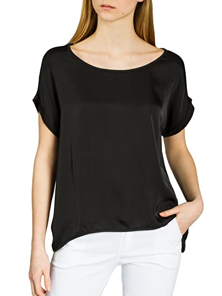 Caspar BLU017 Blusa de Verano Elegante con Mangas Cortas/Camiseta de Seda (Rayon)