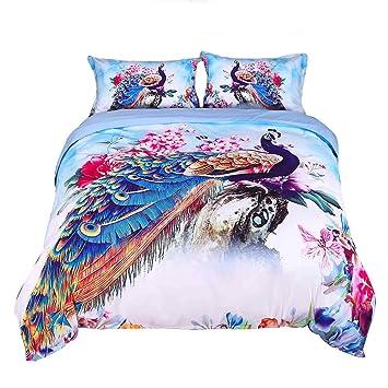 Encoft 3D Peacock Pfau Betten Luxus Schoner Und Pfingstrose Watercolor Bedruckt 4 Teilig Bettbezug