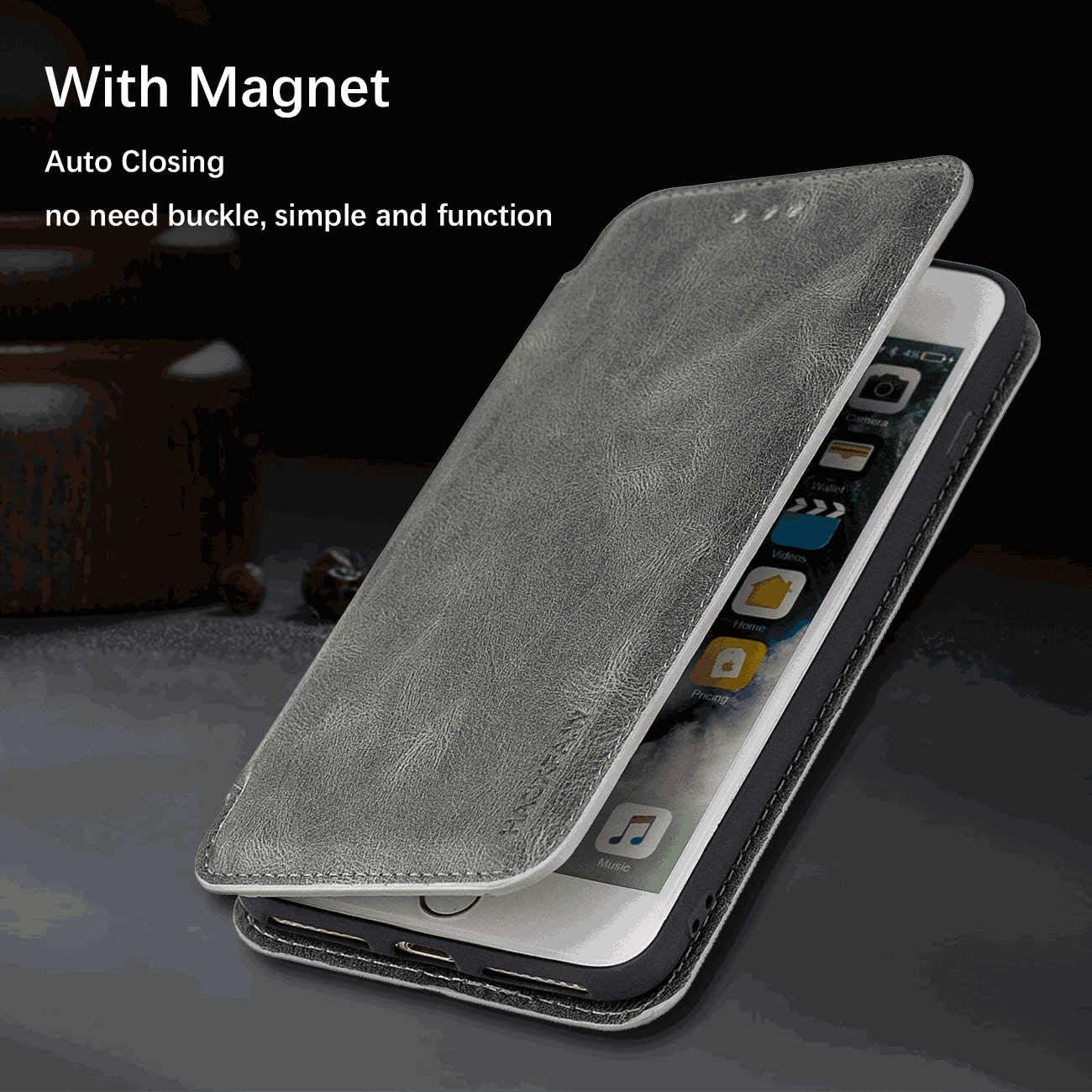 Flip Case for iPhone XR Leather Cover Business Gifts Wallet with Extra Waterproof Underwater Case