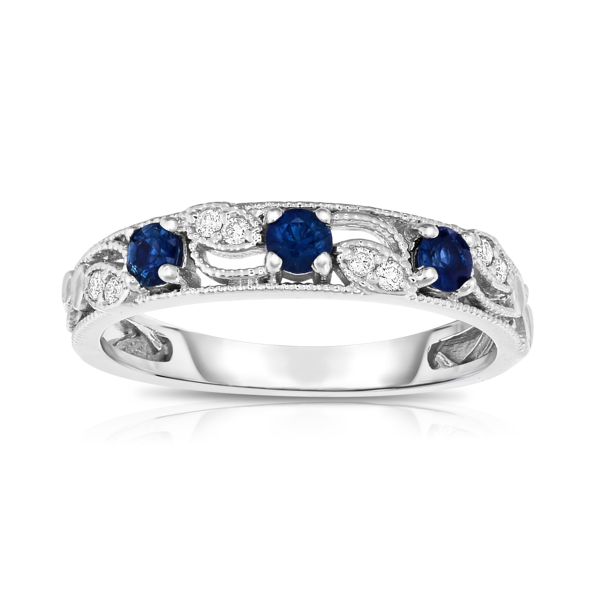 Noray Designs 14K White Gold Blue Sapphire & Diamond (0.06 Ct, G-H, SI2-I1 Clarity) Stackable Ring