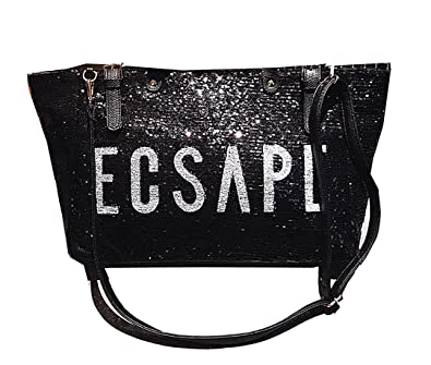 Image Unavailable. Image not available for. Color  HPASS Women Paillette  Large Casual Tote PU Leather Shoulder Bag Green And Black 00965ede48