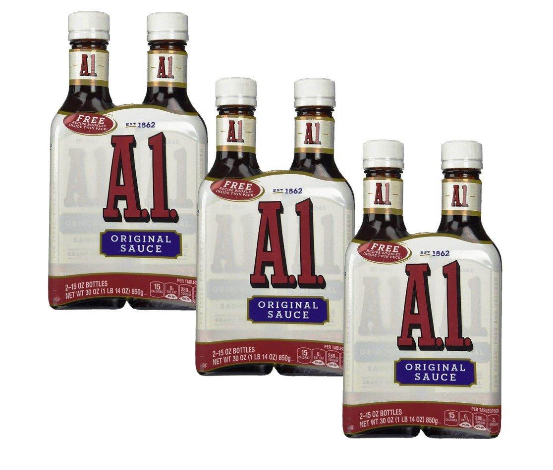 A-1 Steak Sauce, Original, 2 packs of 15 oz glass bottles (Pack of 3)