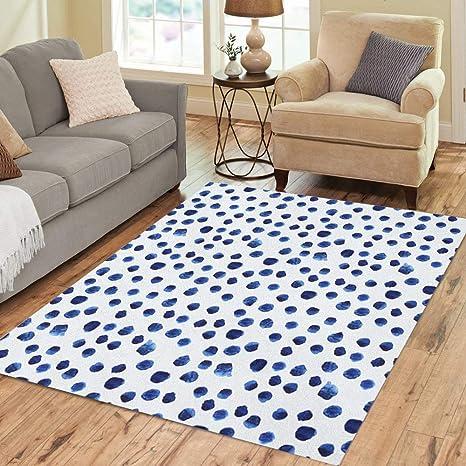 Amazon Com Pinbeam Area Rug Navy Paint Blue Watercolor Polka Dot Watercolour Pattern Home Decor Floor Rug 3 X 5 Carpet Kitchen Dining
