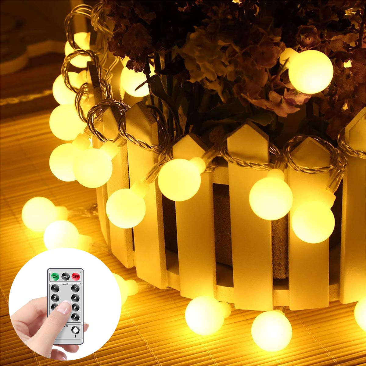 MINGER LED Globe String Lights 14.8ft 40 LED Waterproof Ball Lights 8 Lighting Modes Battery Powered Starry Fairy String Lights for Bedroom Garden Christmas Tree Wedding Party