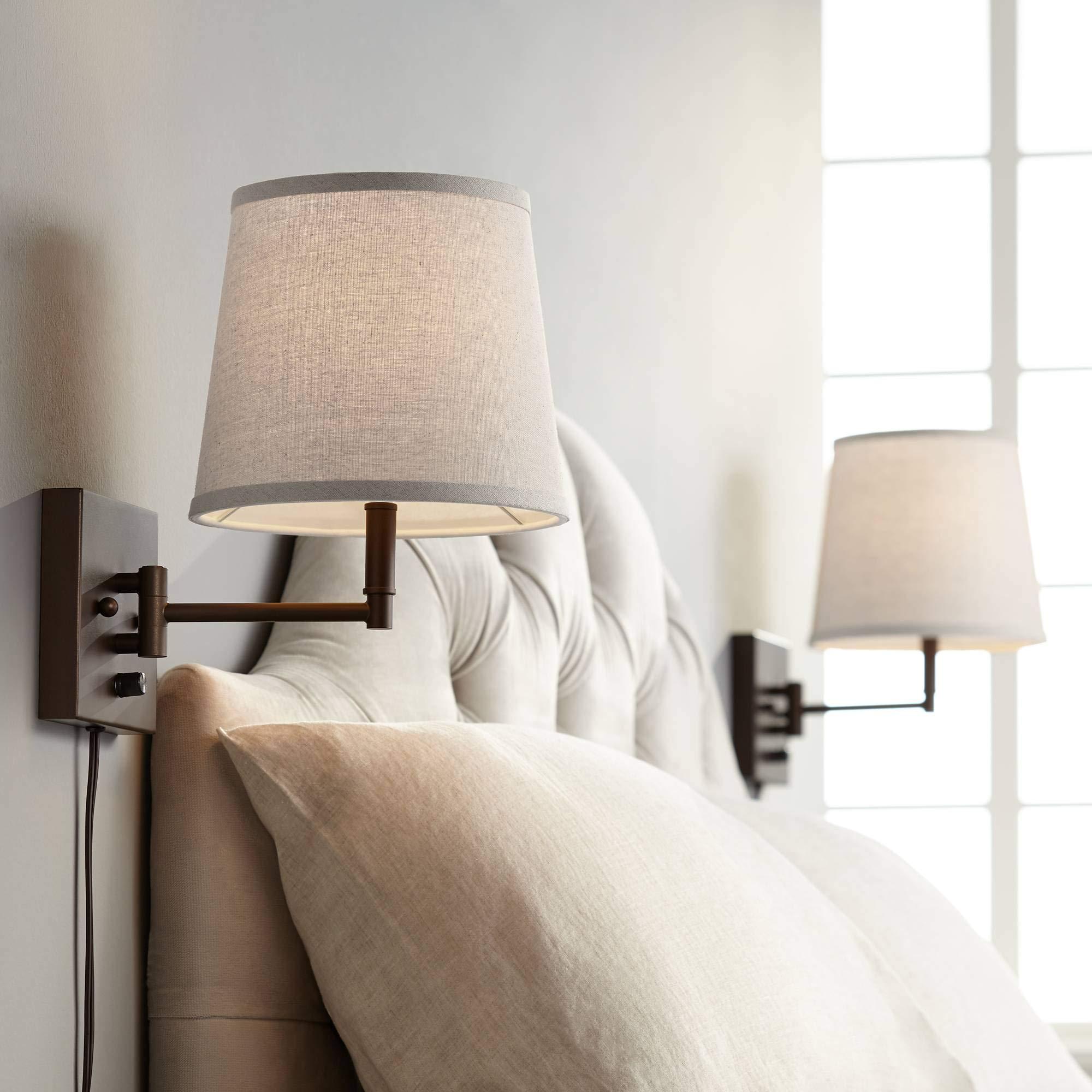 Lanett Painted Bronze Plug-in Swing Arm Wall Lamp Set of 2-360 Lighting