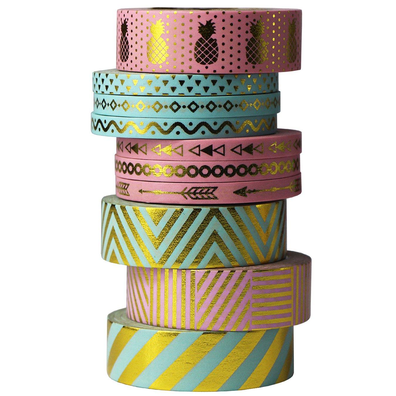 UOOOM 10pcs Decorative Sticker Paper Gold Foil Washi Tape Masking Tape Adhesive Scrapbooking DIY Craft Gift (Design 9063)