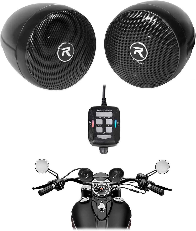 """(2) Rockville RockNRide 3"""" Powered Bluetooth Metal Motorcycle Handlebar Speakers"""