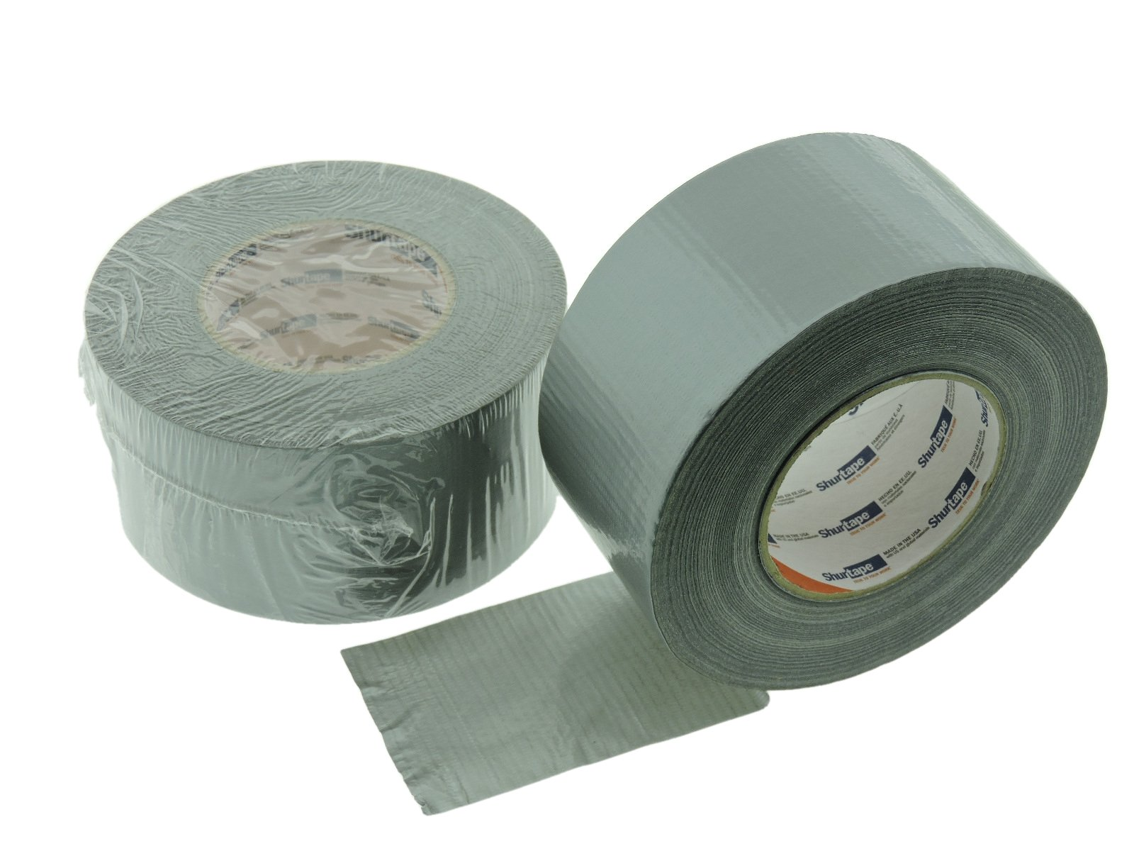 2pk 3'' in Silver Gray Duct Tape ShurTape PC-599 Heavy 9 mil Cloth Reinforced PE Grey Duct Tape Water UV Resistant Hand Tearable 60yd USA Made 50 oz adhesion 16% elongation 22 lb in tensile strength