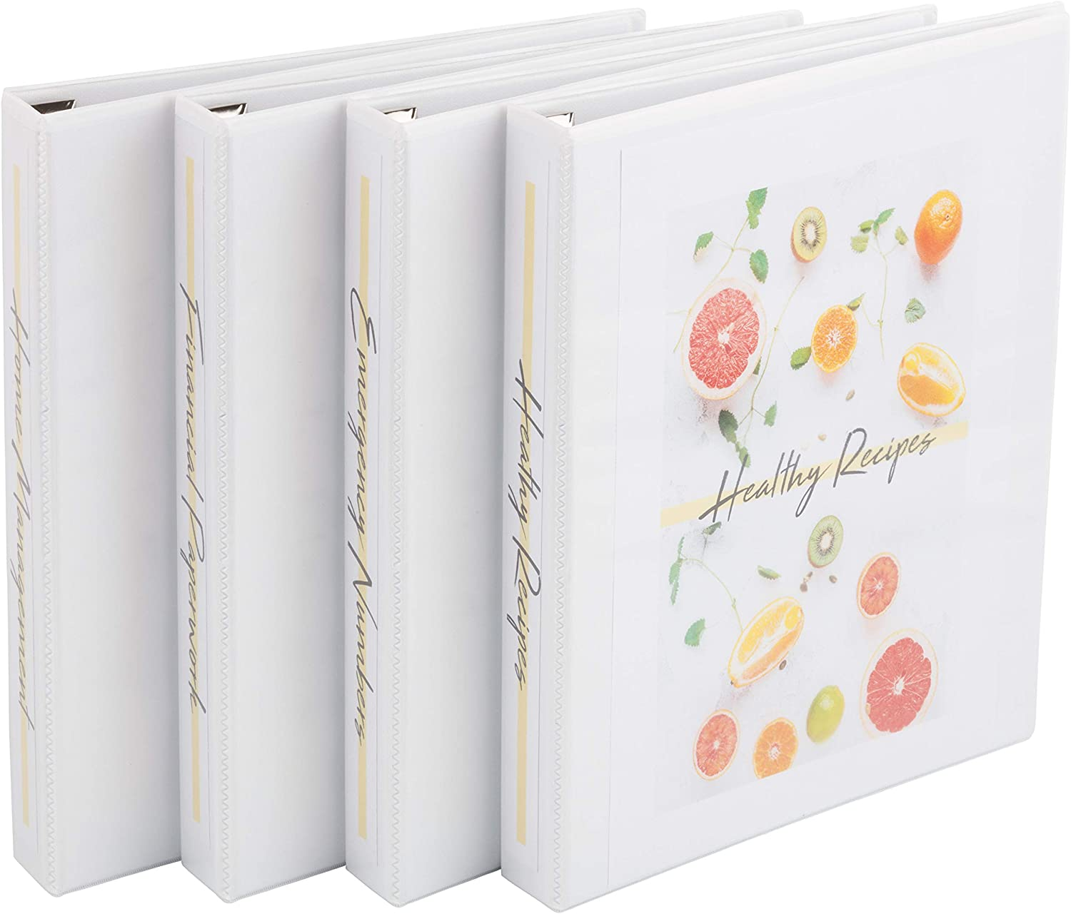 "Avery Durable View 3 Ring Binders, 1"" Slant Ring, 4 White Binders, Create A Set Of Recipe Binders (17575)"