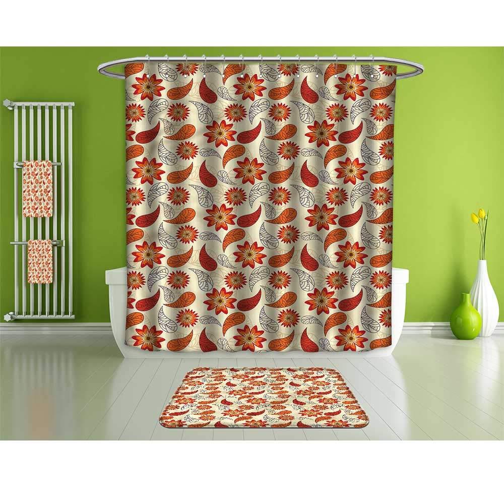 HoBeauty home Shower Curtain Set of 4,Orange,Red Retro Poppy Flowers,Waterproof Eco-Friendly Polyester Fabric Bathroom Set.