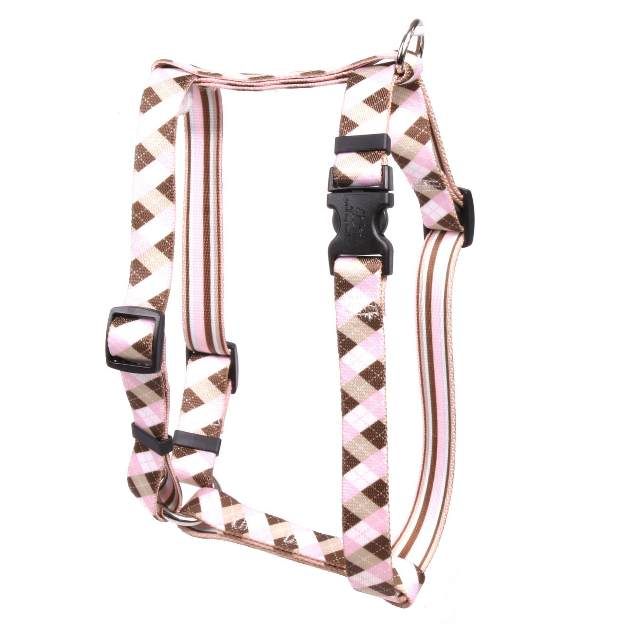 Yellow Dog Design Pink Brown Argyle Roman H Dog Harness, Small/Medium-3/4 Wide fits Chest of 14 to 20'' by Yellow Dog Design