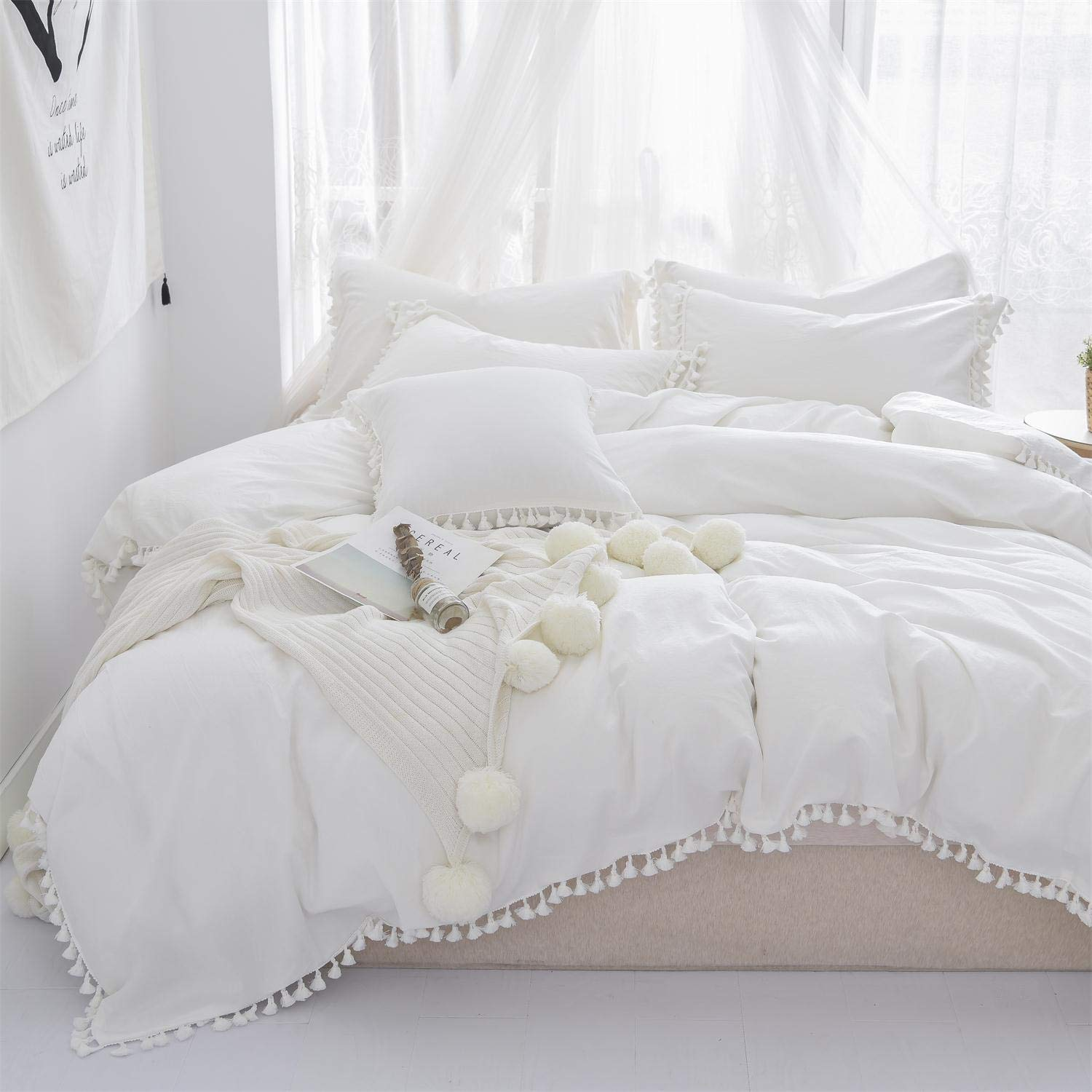Softta Duvet Cover Full 3 Pcs Bohemian Duvet Covers Tassel and Ruffle White Girls Bedding 100% Washed Cotton with Zipper Close & Corner Ties by Softta