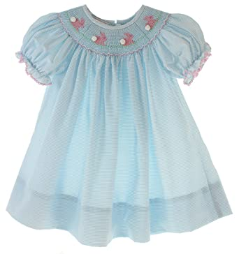 1f3fb390b Petit Bebe Girls Smocked Easter Dress Blue Bishop Bunny Smocking - Blue - 3  Months