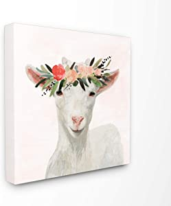 The Stupell Home Décor Collection Springtime Flower Crown Baby Goat Stretched Canvas Wall Art, 17 x 17, Multi-Color