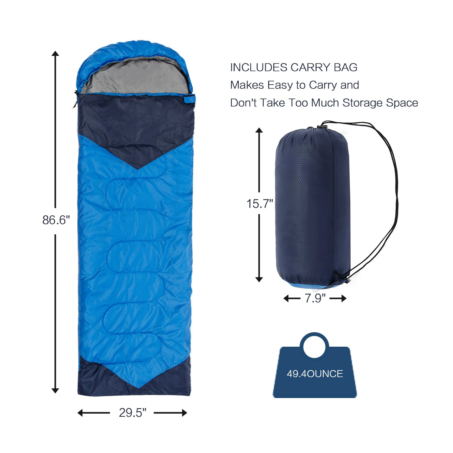 Comfort with Compression Sack Hiking Camping CARQI Sleeping Bag Envelope Lightweight Portable Outdoor Activities Great for 4 Season Traveling Waterproof