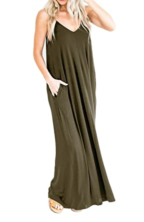 cc161b332fcdb SHOPGLAMLA Women's V-Neck Cami Maxi Dress with Pockets at Amazon ...